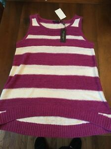 Nwt-CABLE-amp-GAUGE-White-amp-Pink-SLEEVELESS-Sweater-SIZE-Large