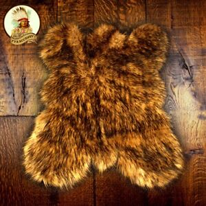 Golden Brown Bear Skin Faux Fur Pelt Hide Throw Rug Shag