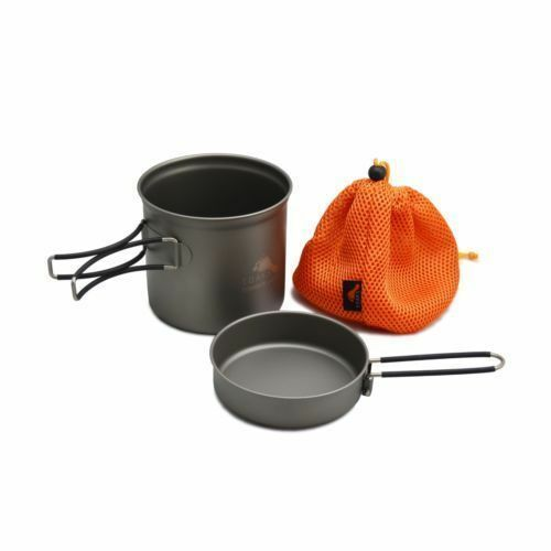 TOAKS Titanium Cook Pot with Pan and Foldable Handles for Outdoor Camping