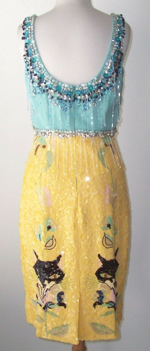 MIU MIU bluee Yellow Yellow Yellow Crystal Jeweled Beaded Sequin Fringe Dress 42 6 29facf