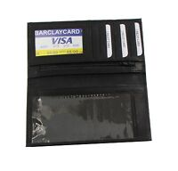 Leather Checkbook Cover Wallet Genuine Cowhide Leather Black Wi... Free Shipping