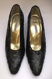 722f3aa71e3030 Philippe Model escarpins cuir noir et paillettes Pointure 38 talon 4 ...