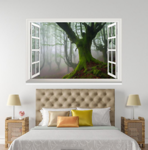 3D Green Trunk Forest 04 Open Windows WallPaper Murals Wall Print AJ Jenny