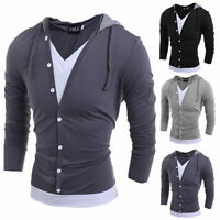 Fashion Long Sleeve Hooded T-Shirt Mens Casual Splicing Hoodie Hoody Top New