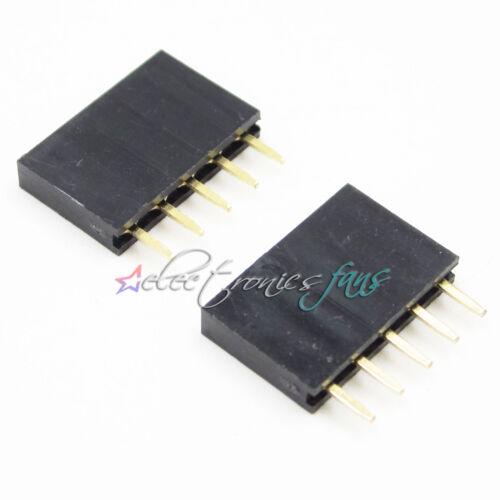 100PCS 1x5 Single Row 5 Pins Pitch 2.54mm PCB Female Header Sockel L2KS