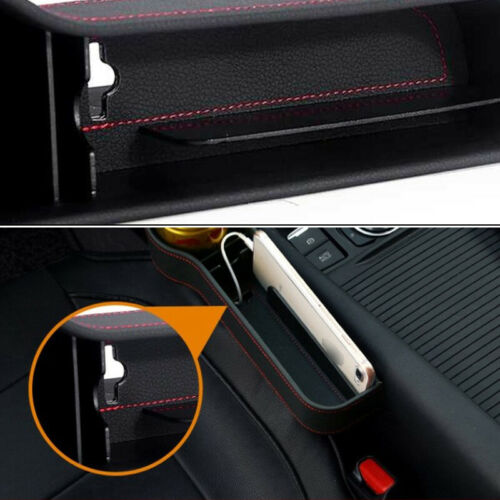 2Pcs Car Seat Gap Storage Box Cup Holder Organizer PU L+R Black Leather Red Line