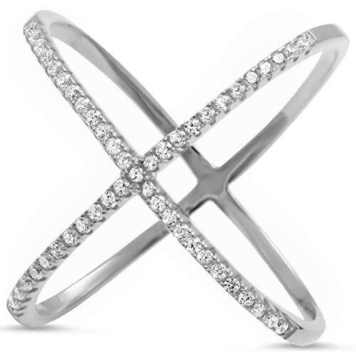 Sterling Silver .925 Women's Multi Color CZ Criss Cross X Fashion Ring 5-10
