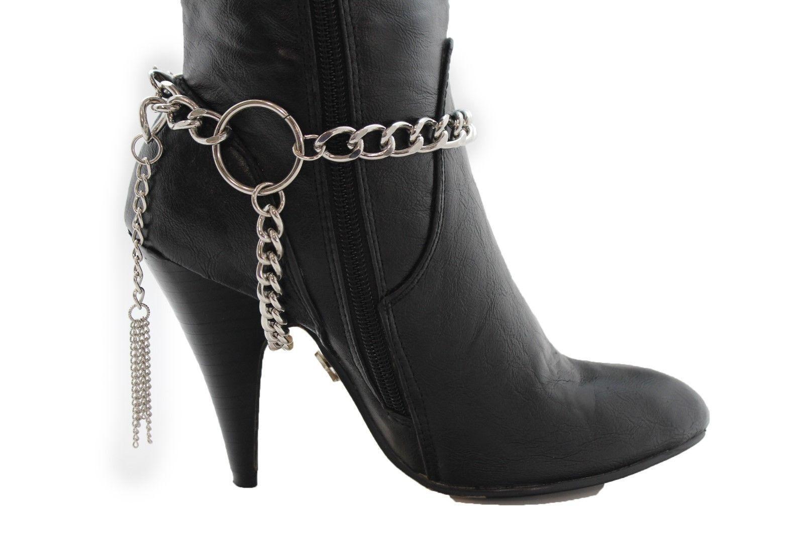 Women Silver Metal Chain Boot Bracelet Western Shoe Charm Jewelry Fringes Ring