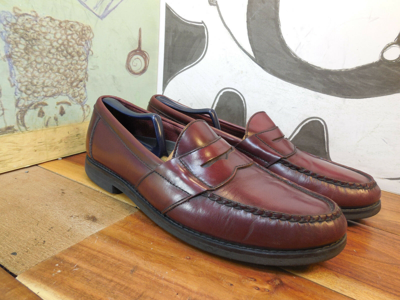 Rockport Genuine Handsewn Men's Brown Leather Penny Loafers Men's Handsewn 10.5N #M2807 a3191b