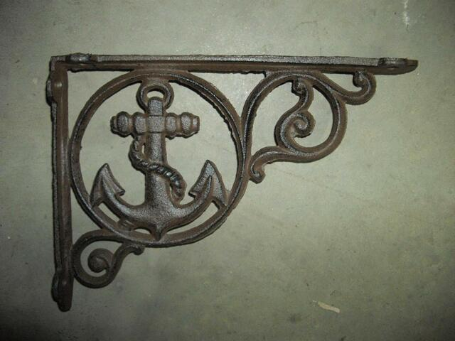 Rustic Set of 2 Octopus Cast Iron Wall Shelf Brackets Nautical Decor