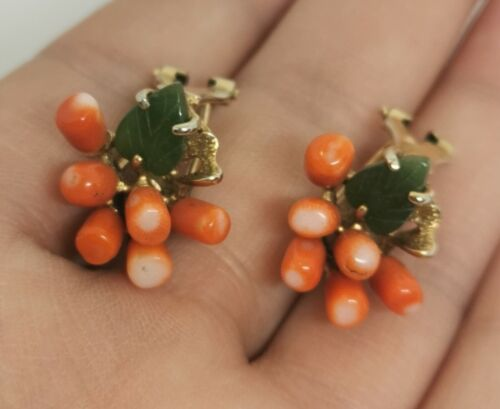 Gold-Plated earrings with beads of turquoise and enamel charm in the shape of a coral twig