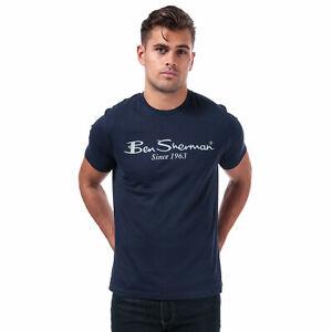 Para-Hombre-Ben-Sherman-gran-Logo-T-Shirt-en-Marina-manga-corta-cuello-acanalado-Crew