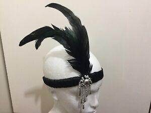 BLACK-HEADPIECE-FEATHER-HEADBAND-1920s-FANCY-DRESS-CHARLESTON-BROW-BAND-FLAPPER