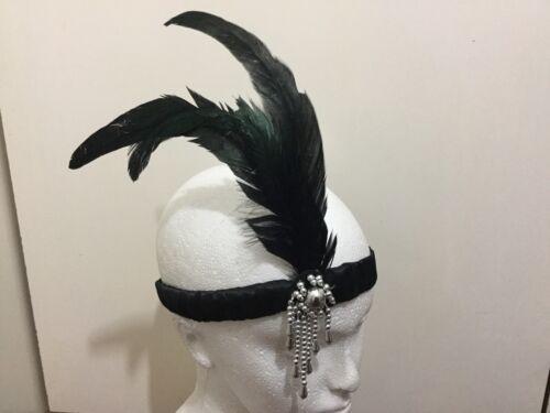 Noir bandeau plume bandeau 1920s déguisement charleston front bande clapet