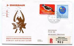 Complexé Ffc 1975 Swissair First Flight Zurich Abidjan Registered Liechtenstein Pour Effacer L'Ennui Et éTancher La Soif