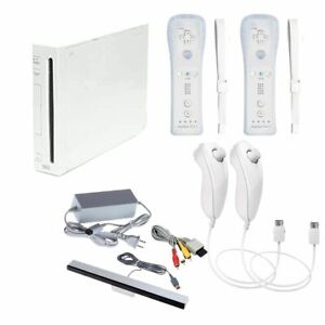 Nintendo Wii Video Game Console Bundle RVL001 2 NEW Motion Plus Controller