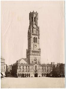 Belgique-Bruges-le-Beffroi-vue-generale-Vintage-albumen-print-Tirage-alb