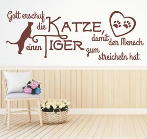 Wandtattoo-Spruch-Gott-erschuf-die-Katze-Mensch-Tiger-Wandaufkleber
