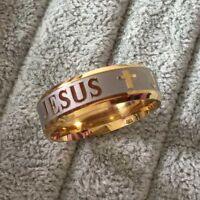 Sz8-12 8MM Stainless Steel Ring 18K Silver Gold Plated Jesus Cross Women Men
