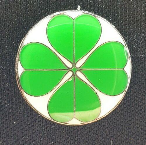 Four Leaf Clover Metal Pin Badge Good Luck Bingo Lotto Good Fortune