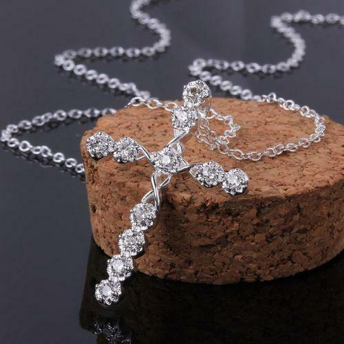 Fashion Women 925 sterling Silver Rhinestone Crystal Cross Pendant Necklace