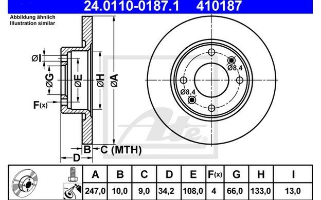 ATE Juego de 2 discos freno Antes 247mm para CITROEN SAXO PEUGEOT 206