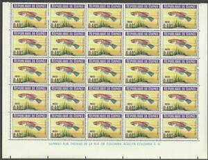Guinea-1964-Sc-323-Goldfasan-fish-lower-part-of-sheet-MNH-CV-50