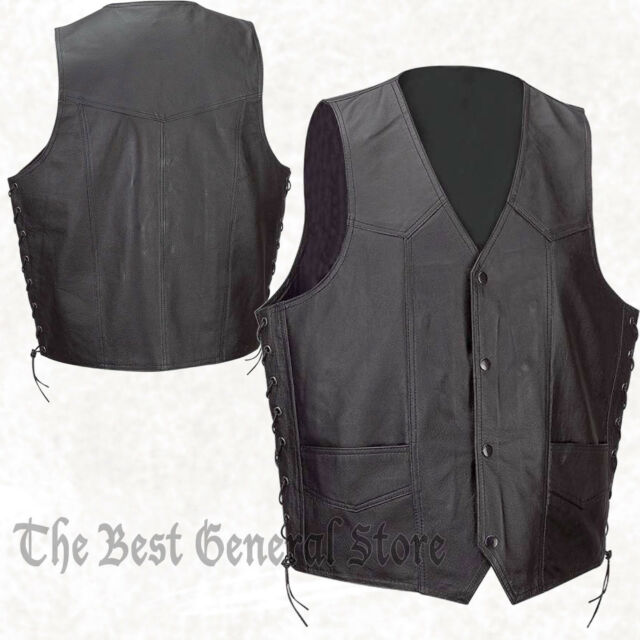 Black Lightweight Solid Leather Lined Vest with Side Laces Waist Coat Mens