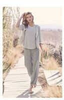 Eileen Fisher Smoke Organic Linen Wide Leg Ankle Pants L
