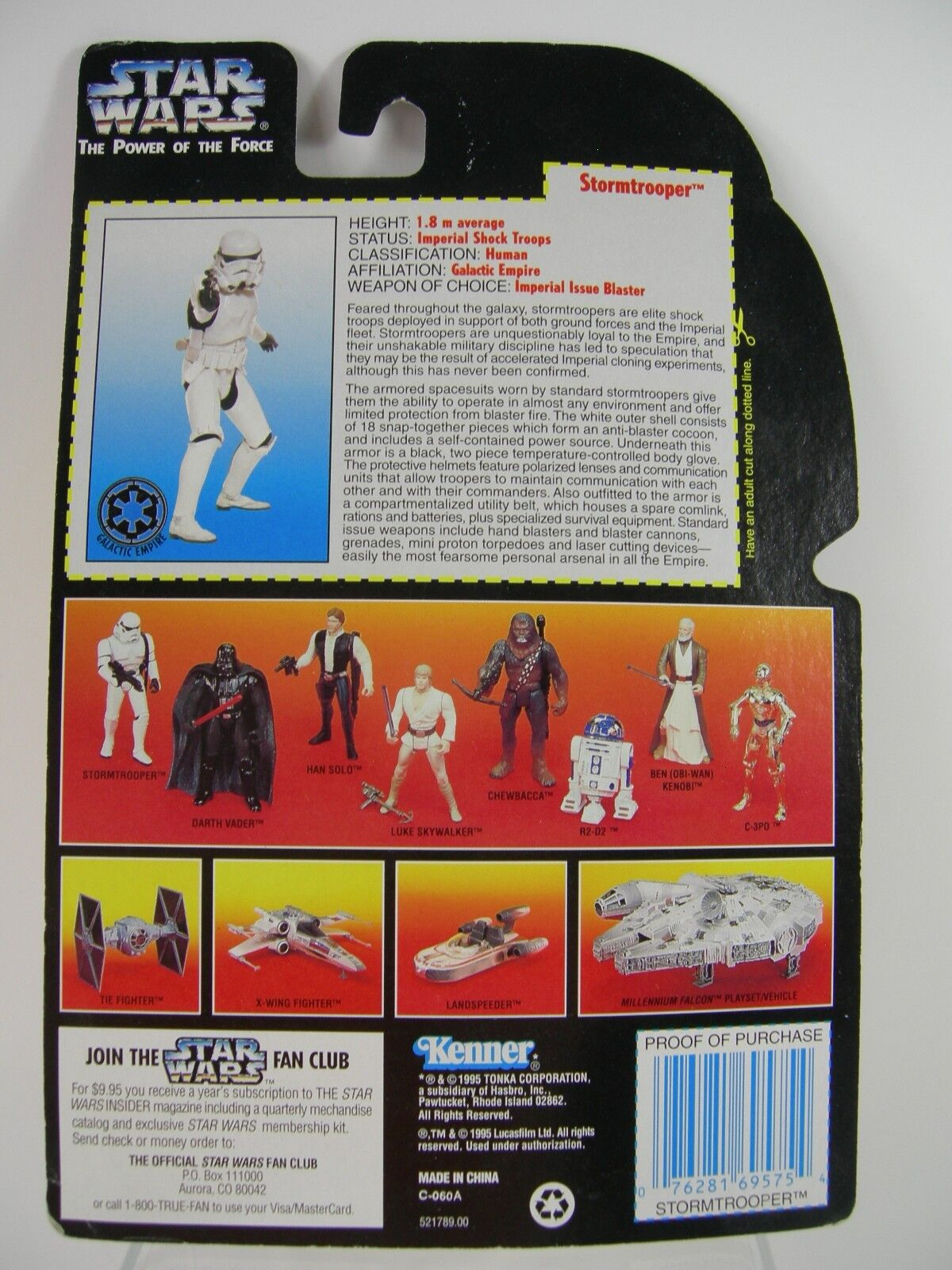 StarWars collection : Star Wars Stormtrooper Power Of The Force Red/Orange Card 1995 Figurine