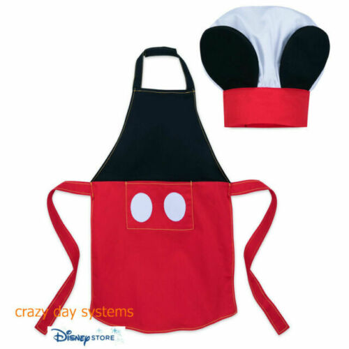 DISNEY STORE MICKEY MOUSE APRON AND CHEFS HAT SET FOR KIDS NWT