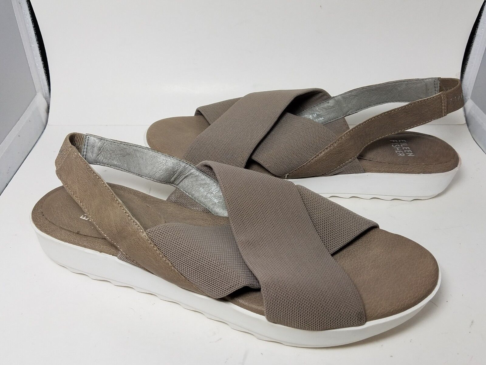 Sz 8 NEW Eileen Fisher Sandals SPA taupe Mesh  Leather Slingback Comfort shoes