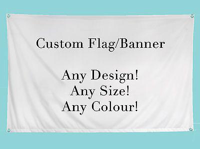 Custom Personalised Flag Banner MANY SIZES! 2ftx3ft, 5ftx3ft, 6ftx4ft + More!