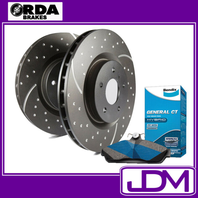 SLOTTED & DIMPLED Front brake Rotors & BENDIX Pads to fit Falcon BA XR6 XR8