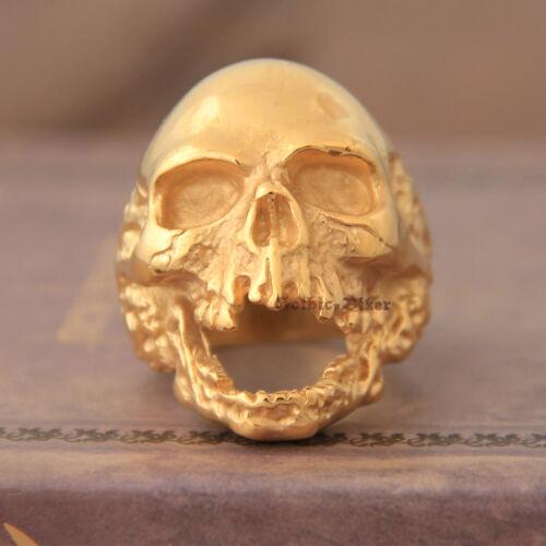 Men/'s Bling Gothique Rocker Motard plaqué or énorme 316 L en acier inoxydable Skull Ring