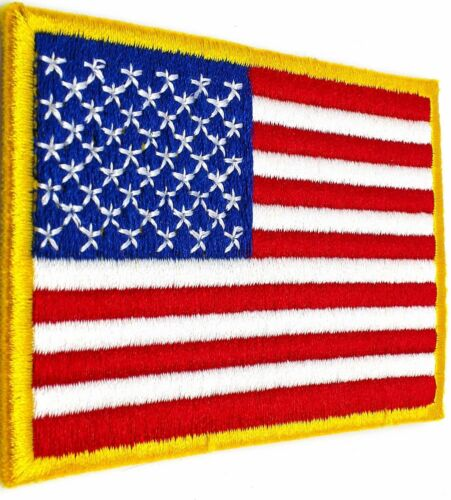 USA AMERICAN FLAG TACTICAL US MORALE MILITARY GOLD FASTEN PATCH