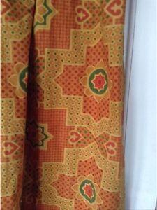 Pair-Vintage-Retro-Sanderson-Fabric-Graphic-Print-Curtains-Fabric-64-L-X-45-W