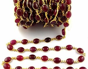 1-Feet-Red-Aventurine-Cabochon-24k-Gold-Plated-6x9-8x10mm-Connector-Chain-Beads