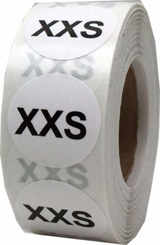 Sizes XXS 500 Total 5X White Circle Clothing Size Stickers 3//4 Inch Round