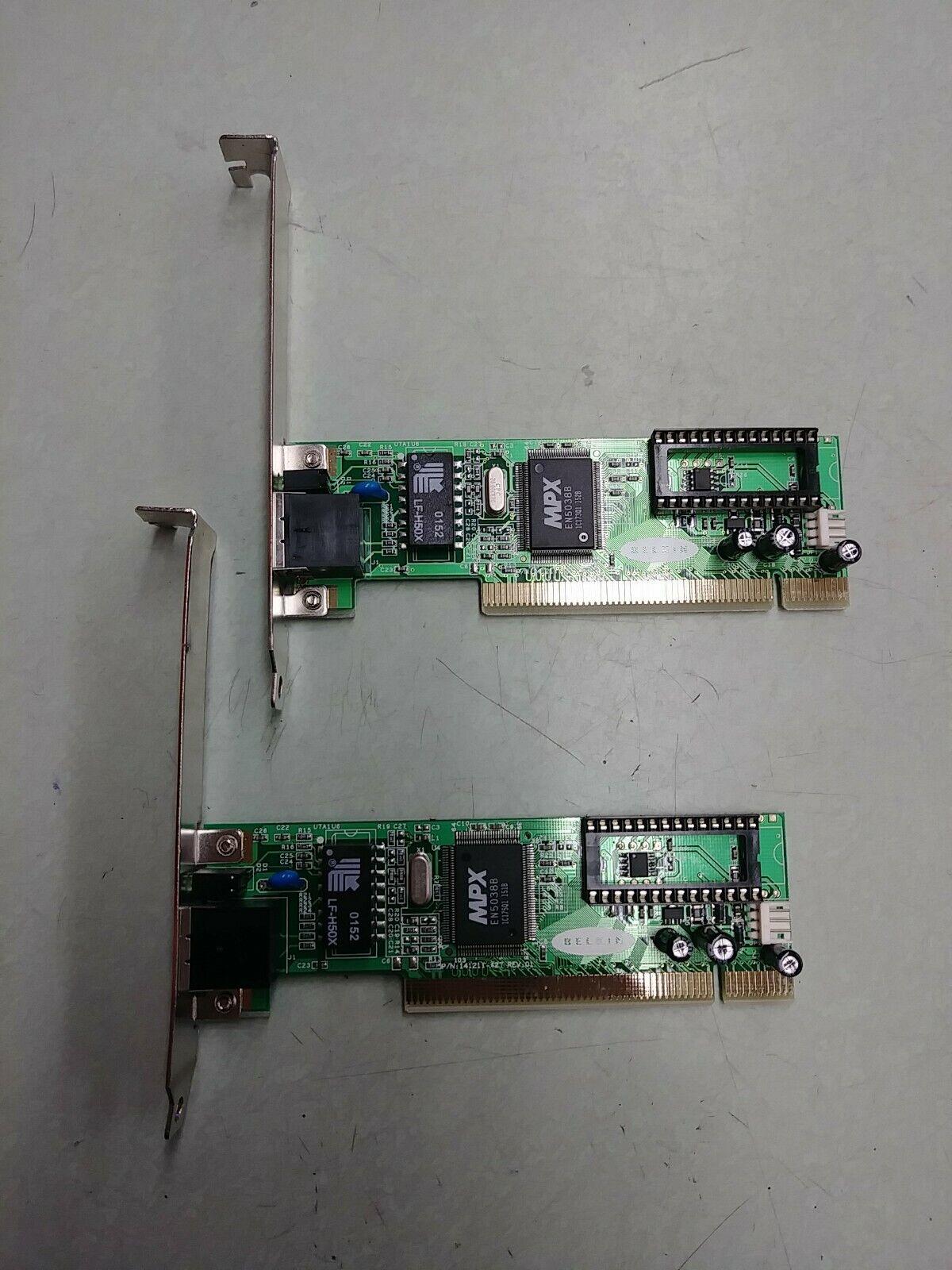 (2) Belkin F5D5000 32 Bit PCI Desktop Network Card NIC LAN 10/100 Mbps