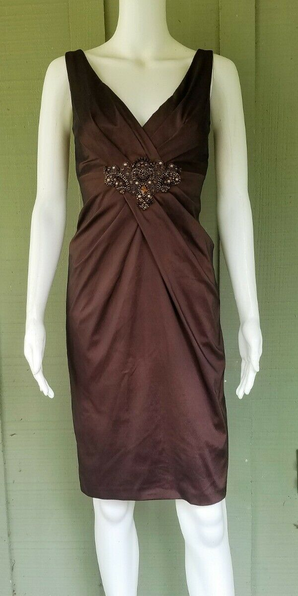 DAVID MEISTER braun Stretch Taffeta Beaded Applique Dress 4