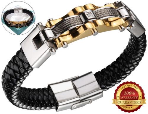 Herren Surf Faux Leder Wristband Armband Braided Rostfrei Stehlen Gold /& Black