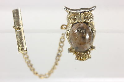 Vintage Owl Shaped Tie Tack Necktie Mens Costume Jewelry Polished Stone Belly