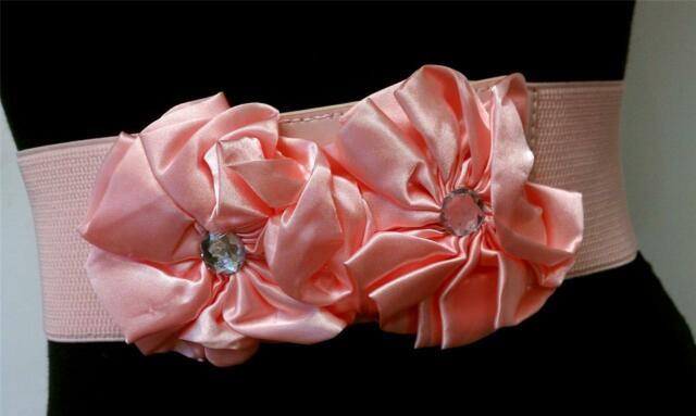 Elegant Fashion Women Satin Two Flowers Waistband Pink Elastic Belt Size s m l