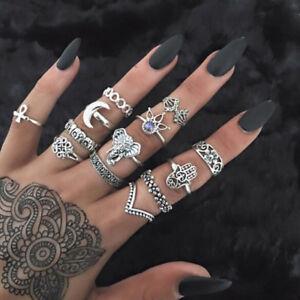 Fashion Bohemian Gemstone Midi Ring Set Boho Caved Diamond Knuckle