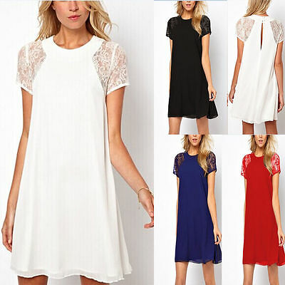 Sexy Women's Short Lace Dress Ladies Summer Chiffon Party Top Skirt Size 8-10-20
