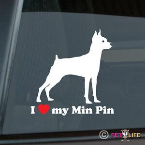 I Love My Miniature Pinscher Sticker Vinyl Auto Window Min Pin