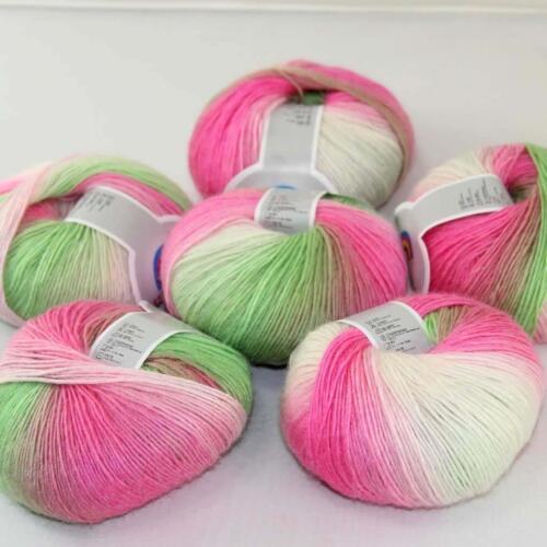 Vente Bricolage 6 ballsx 50 g Doux Cachemire Laine Coloré Arc-en-Châle Hand Knit Yarn 06