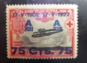 Spain-N-rM-390-Alfonso-XXV-Aniv-coronacion-sobrecarga-1927-CLAVE-lujo-160