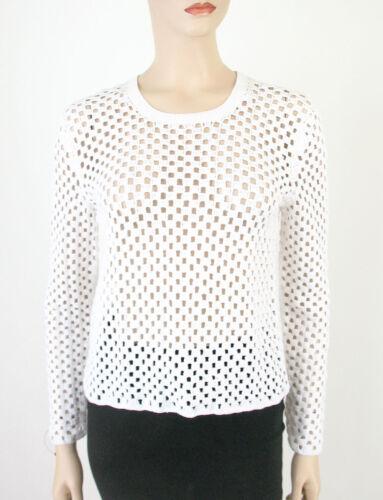 Theorie Thru Sheer Pullover Sweater Krezia 345 See 8250 M Bm6 White Knit Top ZqZrp
